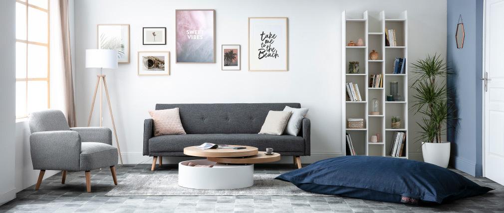 Sofá convertible 3 plazas diseño escandinavo cereza ULLA