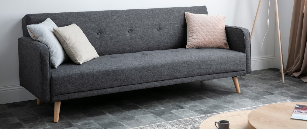 Sofá convertible 3 plazas diseño escandinavo gris oscuro ULLA