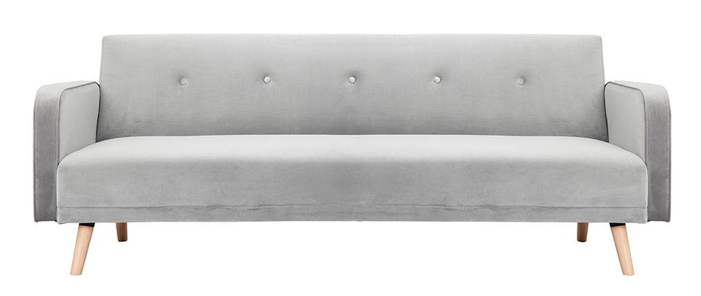 Sofá convertible 3 plazas diseño escandinavo gris terciopelo ULLA