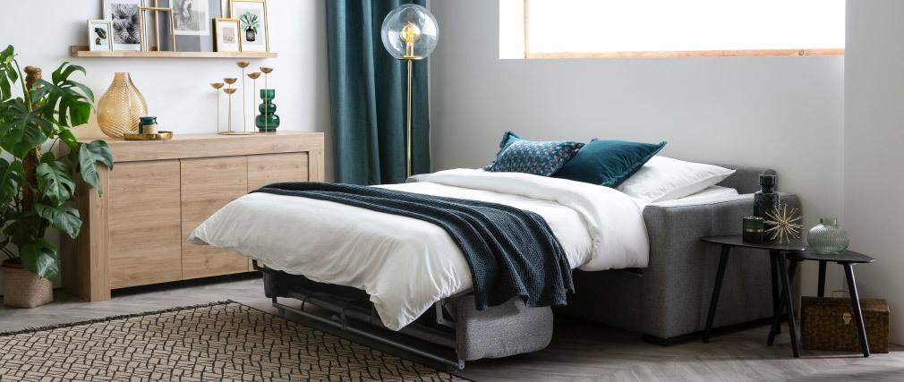 Sofá convertible con colchón 140 cm tejido gris oscuro DOME