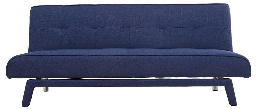 Sofá convertible diseño 3 plazas tejido azul oscuro BUCK