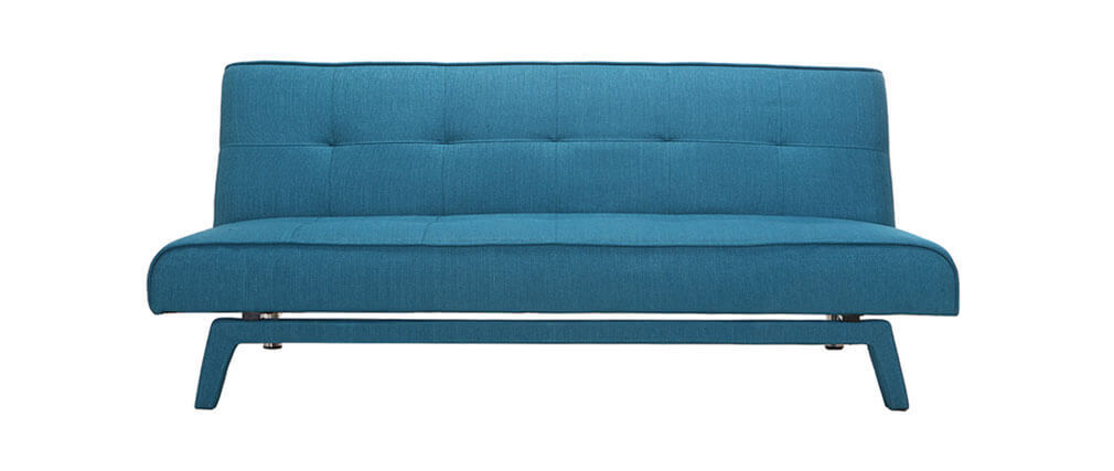 Sofá convertible diseño 3 plazas tejido azul petroleo BUCK
