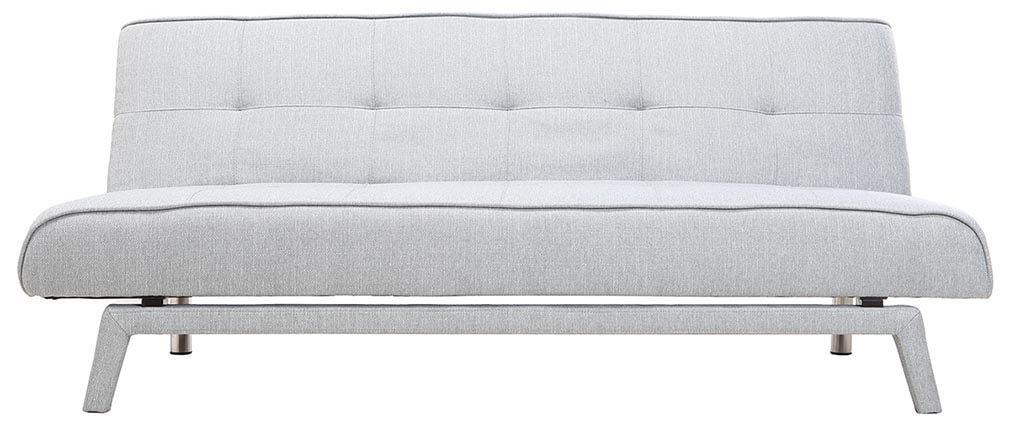 Sofá convertible diseño 3 plazas tejido gris claro BUCK