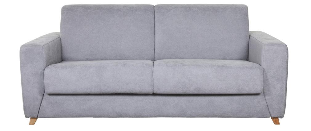 Sofá convertible nórdico 3 plazas efecto terciopelo gris SVEN
