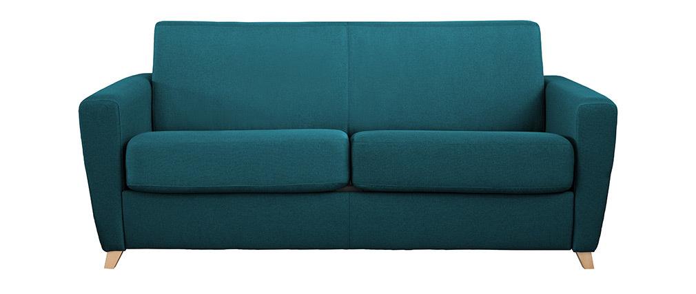 Sofá convertible nórdico azul petróleo y madera GRAHAM