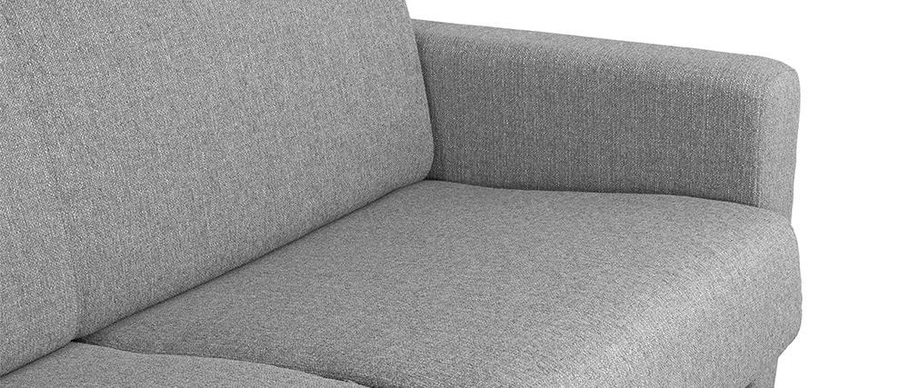 Sofá convertible nórdico gris claro y madera GRAHAM
