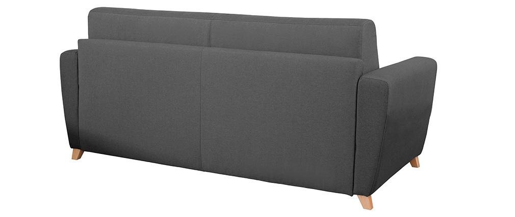 Sofá convertible nórdico gris oscuro y madera GRAHAM