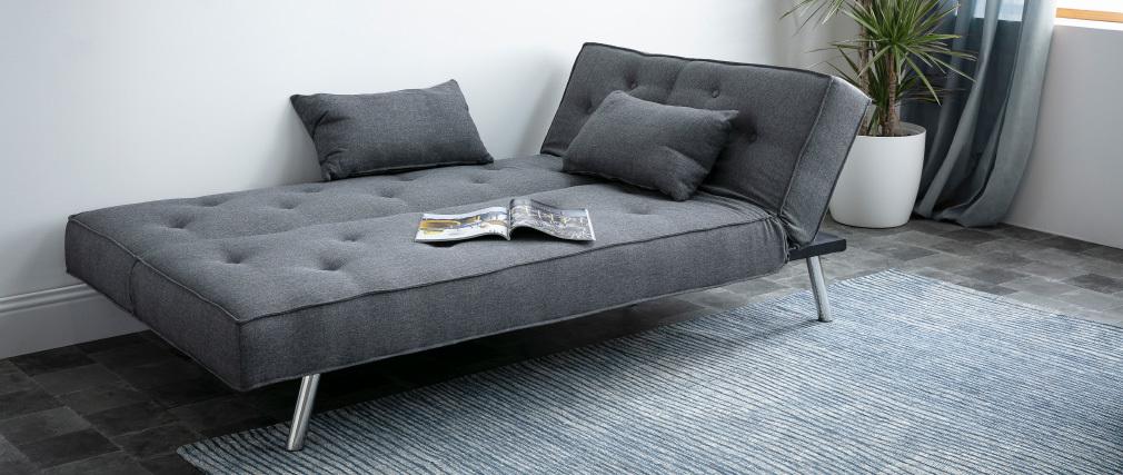 Sofá convertible tapizado gris oscuro LEONARD