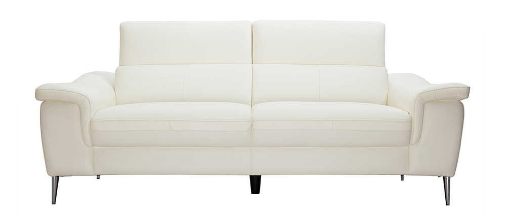 Sofá cuero 3 plazas blanco con reposacabezas ajustables ROMEO - cuero de búfalo
