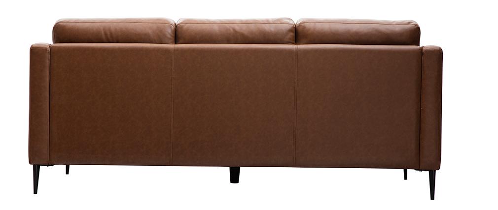 Sofá cuero 3 plazas marrón OXMO - cuero de búfalo