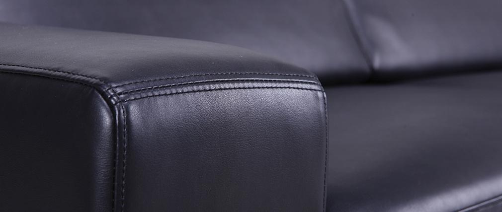 Sofá cuero convertible rápido 3 plazas negro vintage STRATFORD