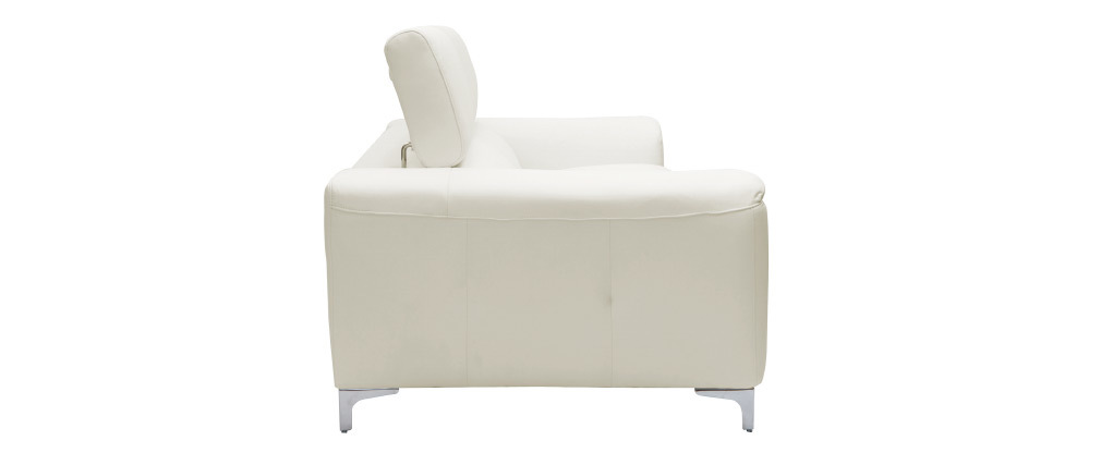 Sofá cuero de búfalo diseño tres plazas con cabeceros relax blanco NEVADA