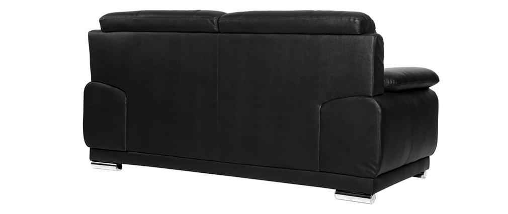 Sofá cuero de vaca diseño negro 2 plazas TAMARA