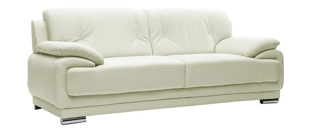 Sofá cuero diseño blanco 3 plazas TAMARA