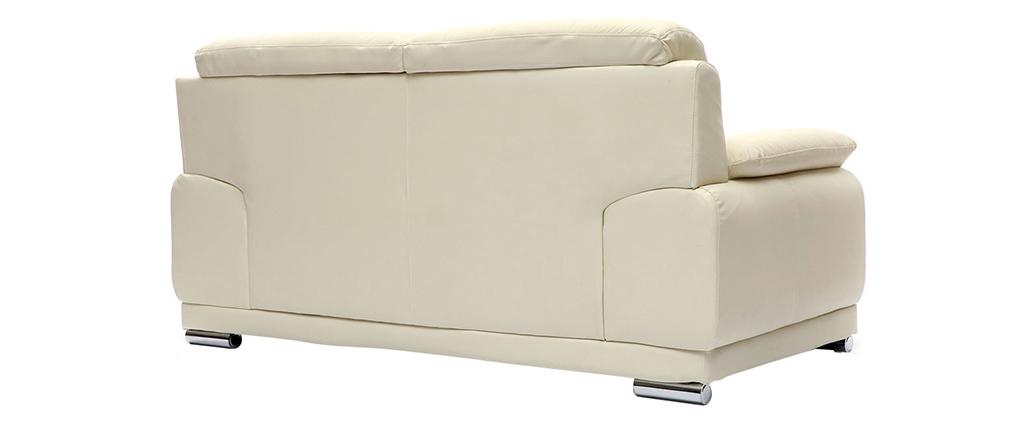 Sofá cuero diseño crema 2 plazas TAMARA