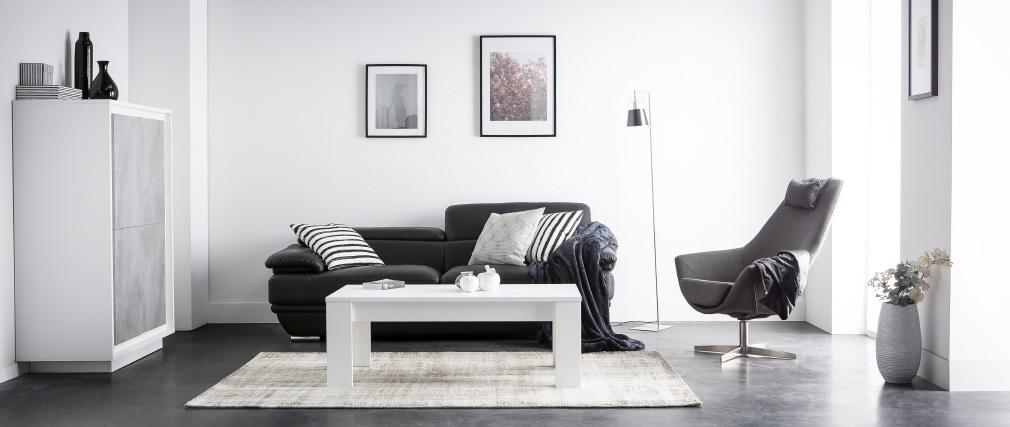 Sofá cuero diseño dos plazas con cabeceros ajustables negro EWING