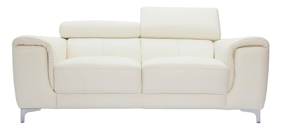 Sofá cuero diseño dos plazas con cabeceros relax blanco NEVADA