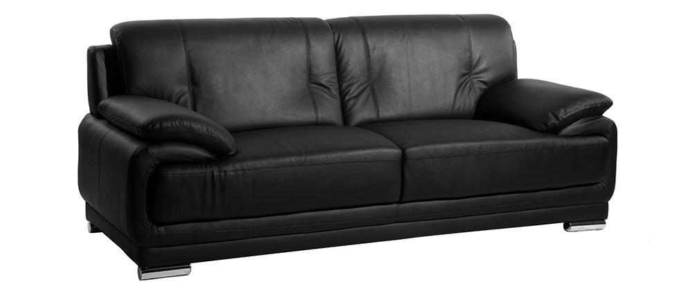 Sofá cuero diseño negro 3 plazas TAMARA