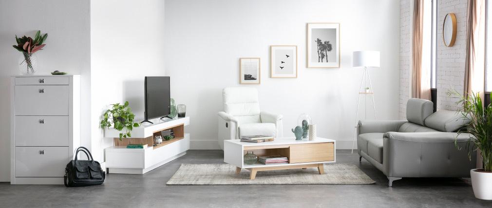 Sofá cuero diseño tres plazas con cabeceros relax blanco NEVADA