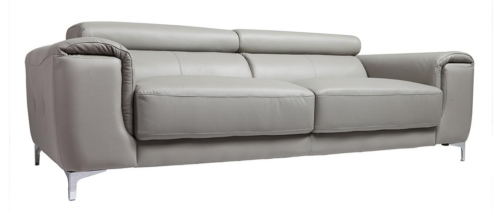 Sofá cuero diseño tres plazas con cabeceros relax gris NEVADA