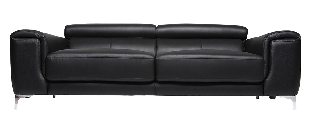Sofá cuero diseño tres plazas con cabeceros relax negro NEVADA