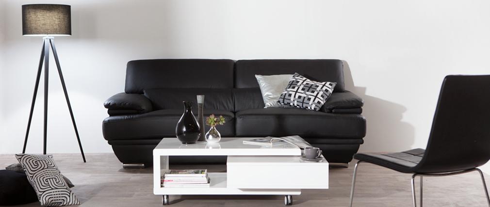 Sofá de cuero diseño tres plazas con cabeceros ajustables negro EWING