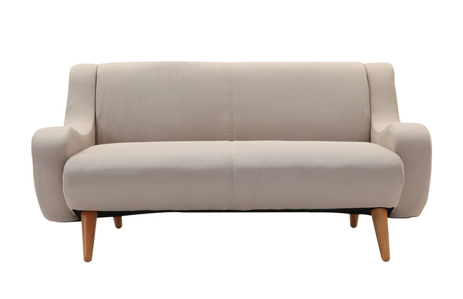 Sof de dise o 2 plazas patas madera tela natural round - Sofas pequenos de diseno ...