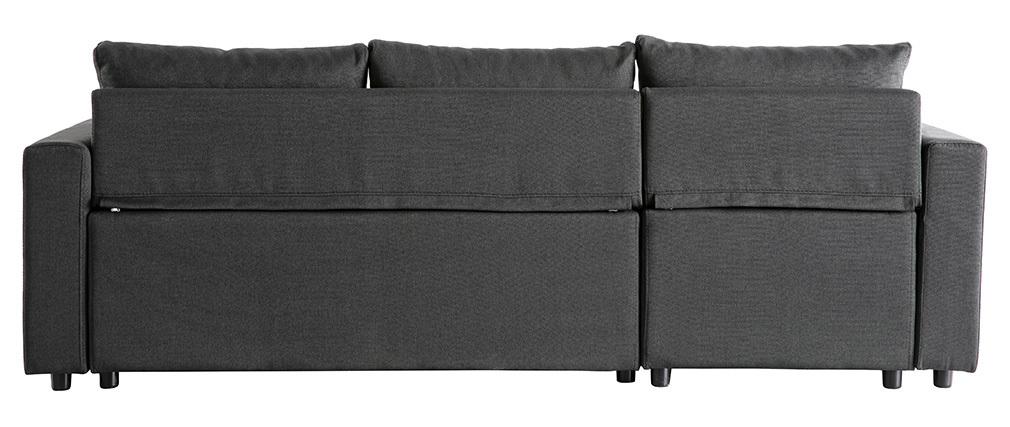 Sofá de esquina convertible con almacenaje gris oscuro MACY