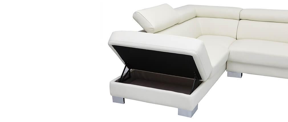 Sofá de esquina cuero con cofre y cabeceros ajustables blanco FRANKLIN