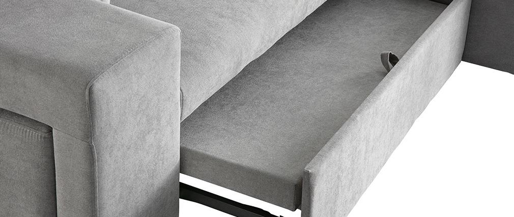 Sofá de esquina derecha convertible con almacenaje y puffs integrados gris BARRETT