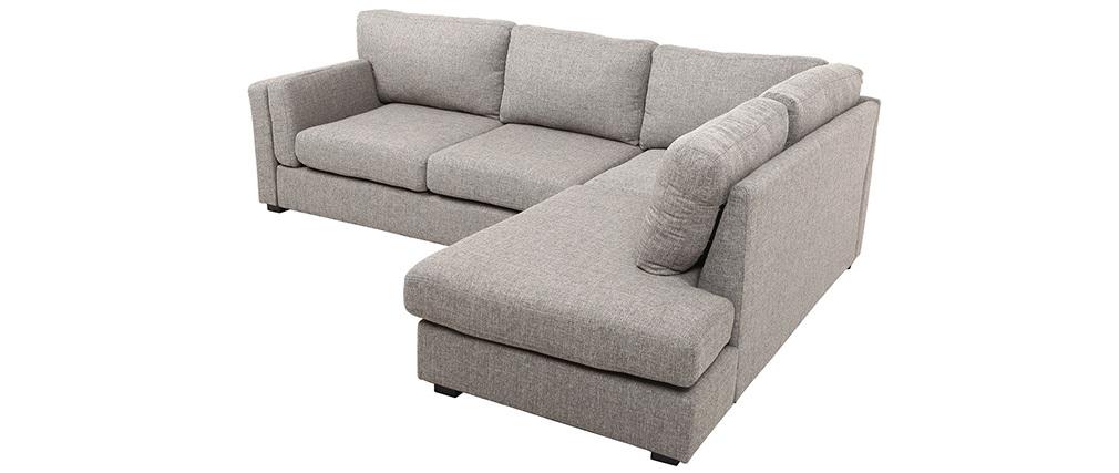 Sofá de esquina derecha moderno 5 plazas tejido gris MILORD