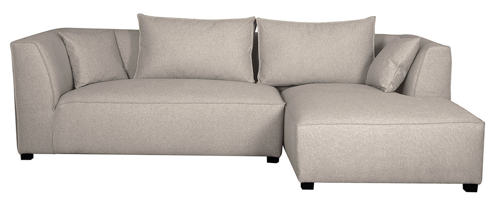 Sofá de esquina derecha modulable tejido beige PLURIEL
