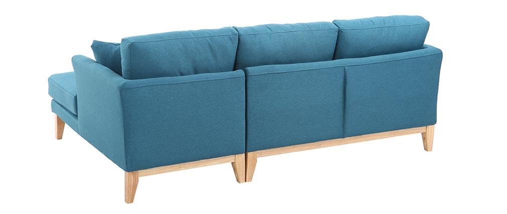 Sofá de esquina derecha nórdico azul petróleo OSLO