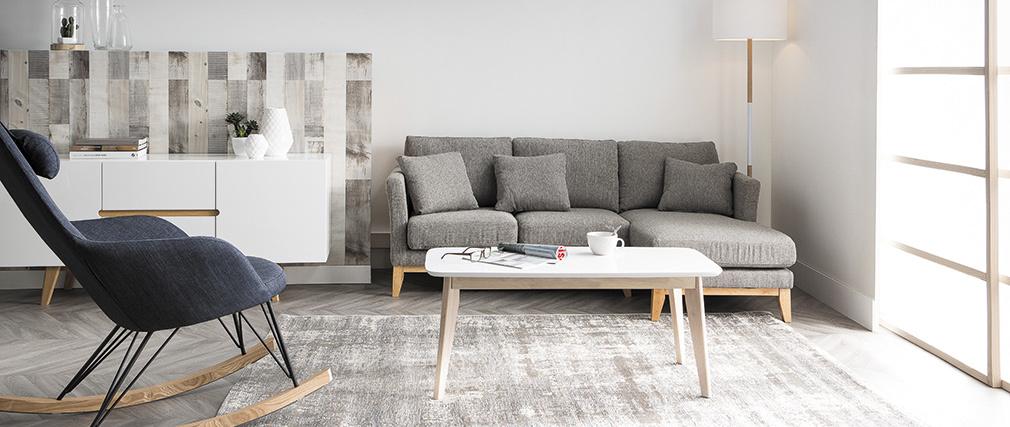 Sofá de esquina derecha nórdico en tejido gris oscuro desenfundable OSLO