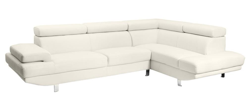 Sofá de esquina en cuero blanco con cabeceros ajustables JENKINS