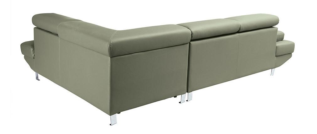 Sofá de esquina en cuero gris con cabeceros ajustables JENKINS