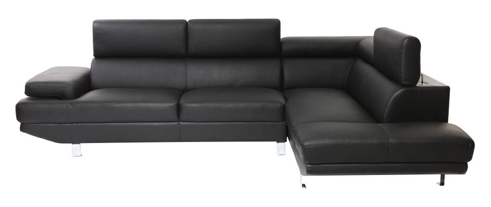 Sofá de esquina en cuero negro con cabeceros ajustables JENKINS