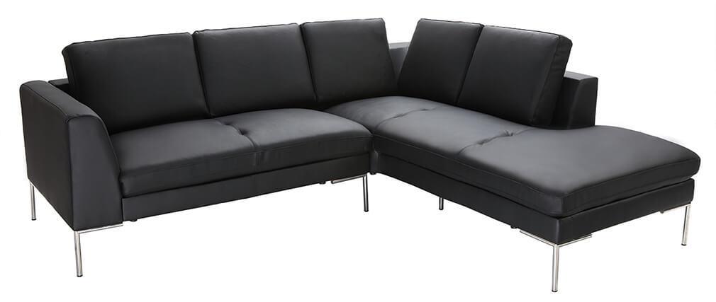 Sofá de esquina en cuero negro diseño 5 plazas (esquina derecha)  OXFORD
