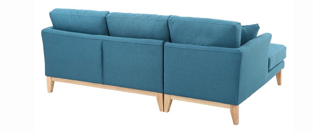 Sofá de esquina izquierda nórdico en tejido azul petróleo desenfundable OSLO