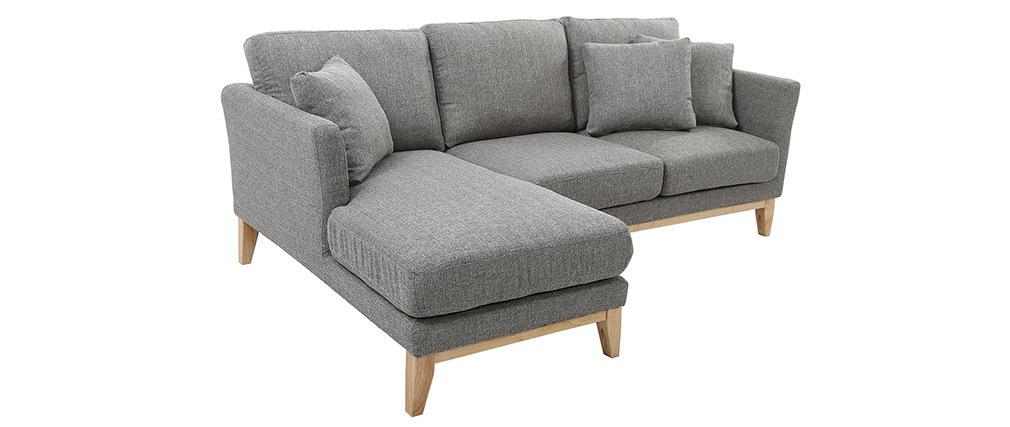 Sofá de esquina izquierda nórdico en tejido gris claro desenfundable OSLO