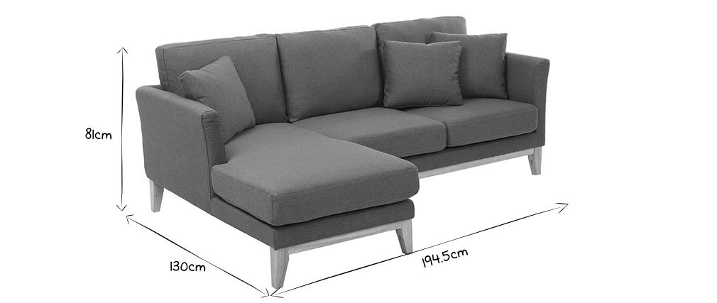 Sofá de esquina izquierda nórdico en tejido gris oscuro desenfundable OSLO