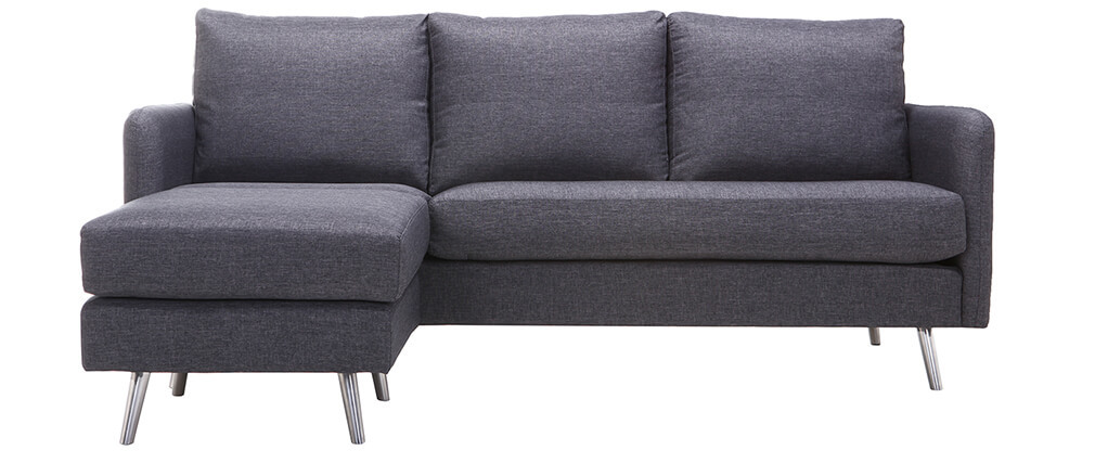 Sofá de esquina reversible diseño 3 plazas gris oscuro BART