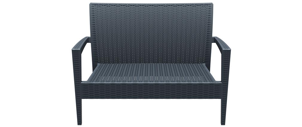 Sofá de jardín en resina trenzada gris SAMOA