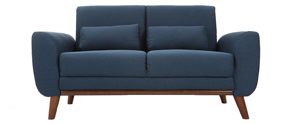 Sofá diseño 2 plazas tejido azul y patas nogal EKTOR