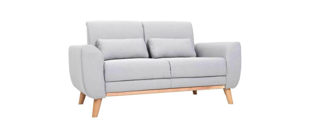 Sofá diseño 2 plazas tejido gris y patas en roble EKTOR