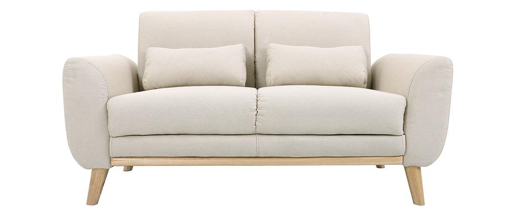 Sofá diseño 2 plazas tejido natural y patas roble EKTOR