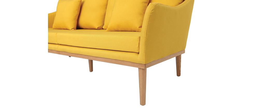 Sofá diseño 3 plazas tejido amarillo y fresno NORI