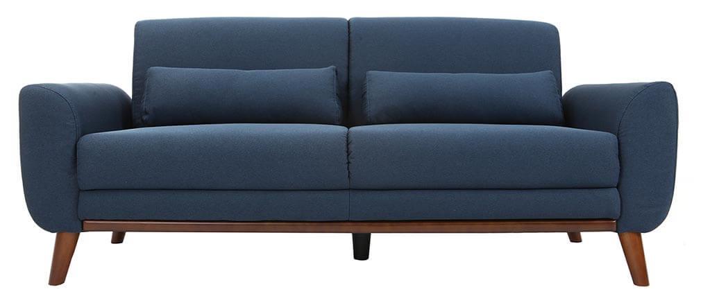 Sofá diseño 3 plazas tejido azul patas roble EKTOR