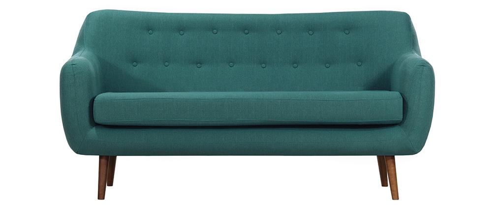 Sofá diseño 3 plazas tejido azul petróleo patas nogal OLAF