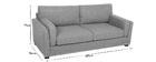 Sofá diseño 3 plazas tejido gris claro MILORD